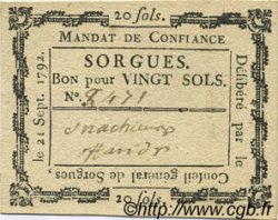 20 Sols FRANCE régionalisme et divers Sorgues 1792 Kc.13.129a SUP
