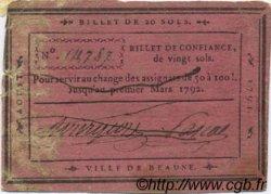 20 Sols FRANCE régionalisme et divers BEAUNE 1791 Kc.21.002 pr.TTB
