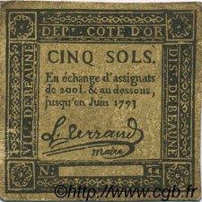 5 Sols FRANCE régionalisme et divers BEAUNE 1792 Kc.21.007 pr.TTB