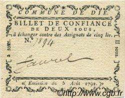 2 Sous FRANCE régionalisme et divers DIE 1792 Kc.26.065 SUP