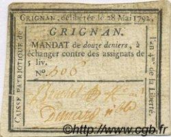 12 deniers FRANCE régionalisme et divers GRIGNAN 1792 Kc.26.079a TTB