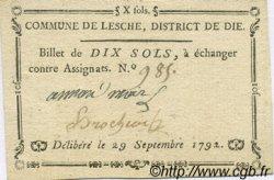 10 Sols FRANCE régionalisme et divers LESCHE 1792 Kc.26.088 SUP