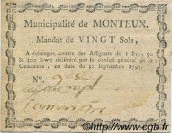 20 Sols FRANCE régionalisme et divers Monteux 1792 Kc.26.108 SUP