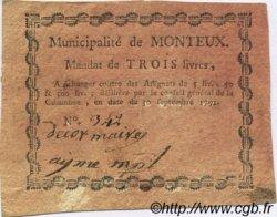 3 Livres FRANCE régionalisme et divers Monteux 1792 Kc.26.110 TTB+