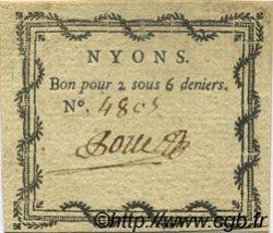 2 Sous 6 Deniers FRANCE régionalisme et divers Nyons 1792 Kc.26.126a SUP