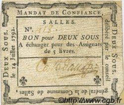 2 Sous FRANCE régionalisme et divers Salles 1792 Kc.26.165 TTB+