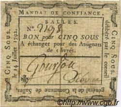 5 Sous FRANCE régionalisme et divers Salles 1792 Kc.26.166 TTB