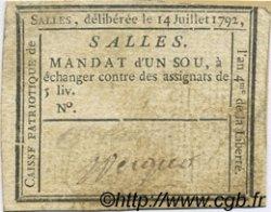 1 Sou FRANCE régionalisme et divers Salles 1792 Kc.26.167 TTB