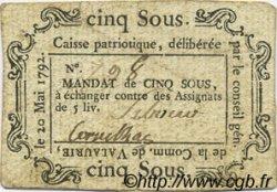 5 Sous FRANCE régionalisme et divers VALAURIE 1792 Kc.26.218b TTB