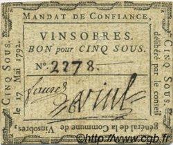 5 Sous FRANCE régionalisme et divers Vinsobres 1792 Kc.26.238 TTB+