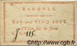 5 Sous FRANCE régionalisme et divers BAGNOLS 1792 Kc.30.022 SUP