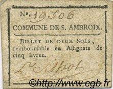 2 Sols FRANCE régionalisme et divers SAINT AMBROIX 1792 Kc.30.091d TB+