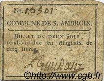 2 Sols FRANCE régionalisme et divers SAINT AMBROIX 1792 Kc.30.091f TTB