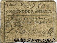 5 Sols FRANCE régionalisme et divers SAINT AMBROIX 1792 Kc.30.092b TB+