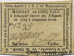 5 Sols FRANCE régionalisme et divers Saint Andre De Roquepertuis 1792 Kc.30.095a TTB