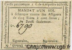 1 Sol FRANCE régionalisme et divers SAINT HIPOLITE 1792 Kc.30.130 TTB+