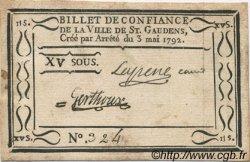 15 Sous FRANCE régionalisme et divers SAINT GAUDENS 1792 Kc.31.135 TTB+