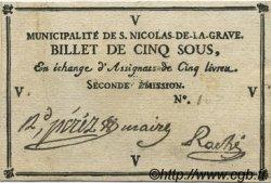 5 Sous FRANCE régionalisme et divers Saint Nicolas De La Grave 1792 Kc.31.158c SUP