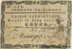 5 Sols FRANCE régionalisme et divers GIMONT 1792 Kc.32.044 TB+