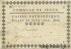 5 Sols FRANCE régionalisme et divers JEGUN 1792 Kc.32.058c TTB
