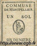 1 Sol 6 Deniers FRANCE régionalisme et divers MONTPELLIER 1792 Kc.34.127 TTB