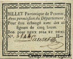 2 Sous 6 Deniers FRANCE régionalisme et divers PEZENAS 1792 Kc.34.155 SUP