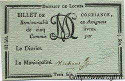 3 Sols FRANCE régionalisme et divers Loches 1792 Kc.37.015d var SUP