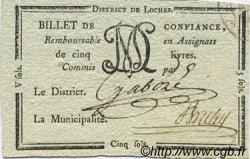 5 Sols FRANCE régionalisme et divers LOCHES 1792 Kc.37.016a SUP