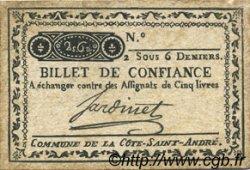 2 Sous 6 Deniers FRANCE régionalisme et divers LA COTE SAINT ANDRE 1792 Kc.38.013 TTB