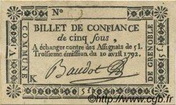 5 Sous FRANCE régionalisme et divers GRENOBLE 1792 Kc.38.023d SUP