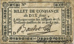 10 Sous FRANCE régionalisme et divers Grenoble 1792 Kc.38.025 TTB