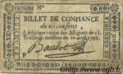 12 sous FRANCE régionalisme et divers Grenoble 1792 Kc.38.026 TTB