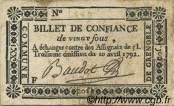 20 Sous FRANCE régionalisme et divers Grenoble 1792 Kc.38.027 TTB