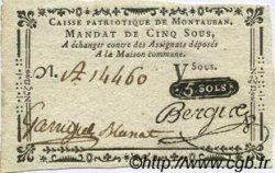 5 Sous FRANCE régionalisme et divers MONTAUBAN 1792 Kc.46.096s SUP