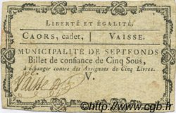 5 Sous FRANCE régionalisme et divers Septfonds 1792 Kc.46.117 TTB