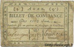 5 Sous FRANCE régionalisme et divers AGEN 1792 Kc.47.001 TTB+