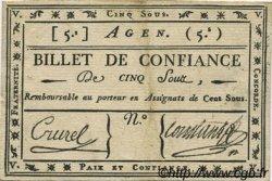 5 Sous FRANCE régionalisme et divers AGEN 1792 Kc.47.001var. TB