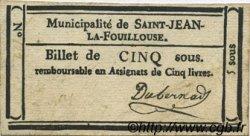 5 Sous FRANCE régionalisme et divers Saint Jean La Fouillouse 1792 Kc.48.113b TTB