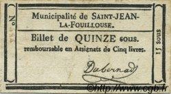15 Sous FRANCE régionalisme et divers Saint Jean La Fouillouse 1792 Kc.48.115a TTB