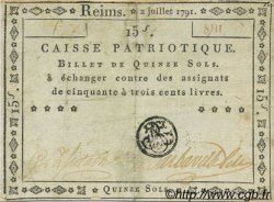 15 Sols FRANCE régionalisme et divers Reims 1791 Kc.51.007a TTB