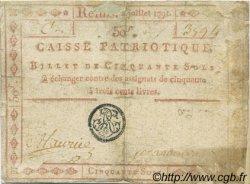 50 Sols FRANCE régionalisme et divers REIMS 1791 Kc.51.009 (ou 015b) TB