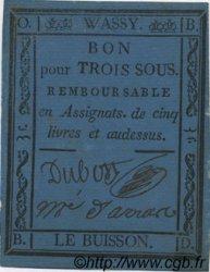 3 Sous FRANCE régionalisme et divers Wassy 1792 Kc.52.080 TTB
