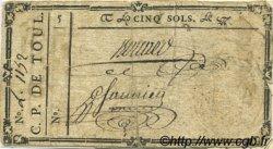 5 Sols FRANCE régionalisme et divers TOUL 1792 Kc.54.045 TB