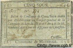 5 Sous FRANCE régionalisme et divers MAUBEUGE 1795 Kc.59.072a TTB