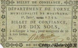 10 Sols FRANCE régionalisme et divers Mortagne 1792 Kc.61.363 TTB