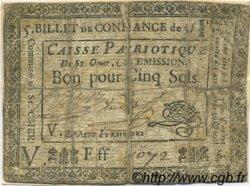 5 Sols FRANCE régionalisme et divers SAINT OMER 1791 Kc.62.056 B