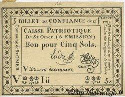 5 Sols FRANCE régionalisme et divers SAINT OMER 1791 Kc.62.056 SUP