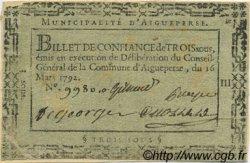 3 Sous FRANCE régionalisme et divers Aigueperse 1792 Kc.63.001 TB+