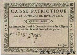 15 Sous FRANCE régionalisme et divers RIVE DE GIERS 1792 Kc.69.051 SPL