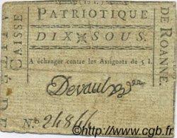 10 Sous FRANCE régionalisme et divers ROANNE 1792 Kc.69.54 TTB